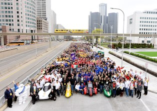 The student team portrait during day two of the Shell Eco-marathon Americas in Detroit, Friday, April 22, 2016. (Bryan Mitchell/AP Images for Shell)