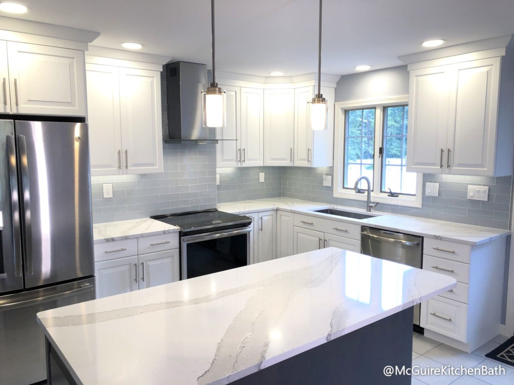 White And Grey Kitchen Remodel In Peabody Mcguire Co Kitchen Bath Wakefield Ma