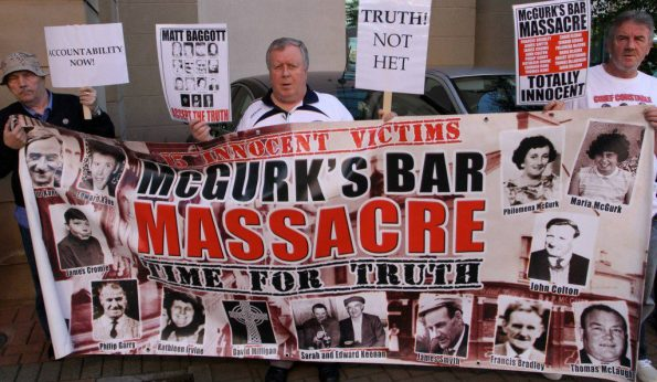 Activist, Robert McClenaghan, in the middle, along with other family campaigners, Gerard Keenan (right) and Alex McLaughlin (left) who has since passed.