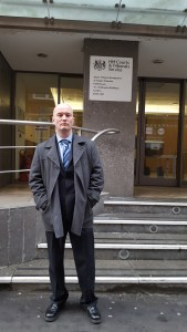 Ciarán MacAirt outside the Tribunal in London