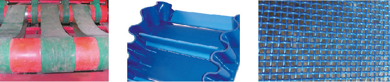 Vulcanisation - Bandes enrubanneuses, en PVC à bords de contenance et tasseaux, grillagée.