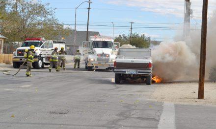 Construction truck destroyed in blaze
