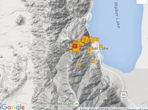 Google Maps - A cluster of earthquakes was recorded northeast of Hawthorne last week, the biggest being a 4.5 Thursday at 4:40 p.m.