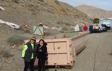 Volunteers clean up debris from wind storm at Walker Lake