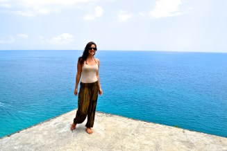 For someone who is terrified of heights, I'm proud of myself! This slab hung high above the Bali Sea below.