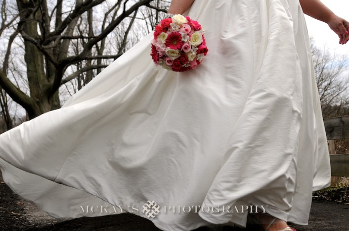 plus sized wedding gown for winter wedding in the woods