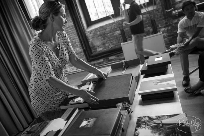 Heather McKay teaches a wedding album workshop to Boston Photographers