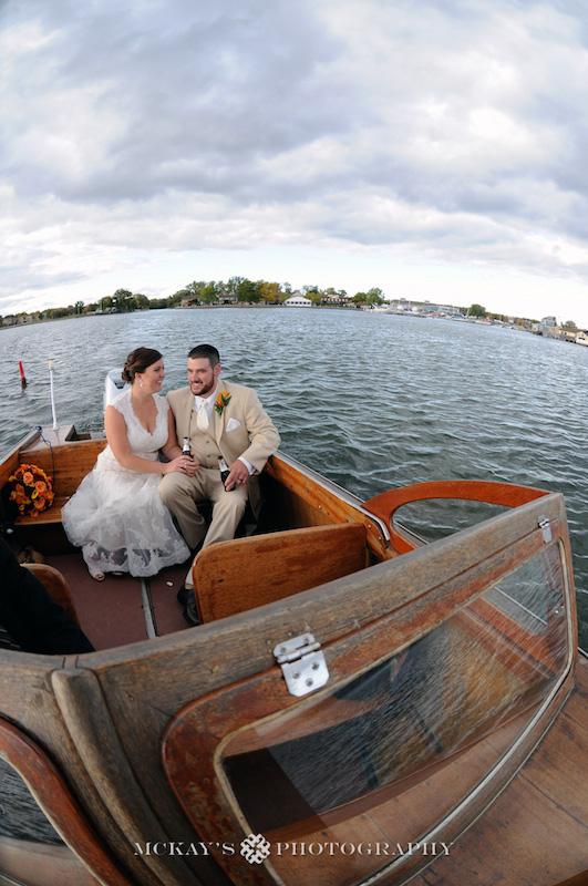 antique wooden boat wedding photos