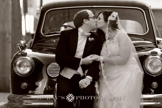 vintage car and British wedding Groom in Buffalo NY