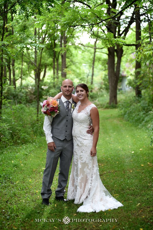 Bride and groom at their backyard wedding in the Finger Lakes