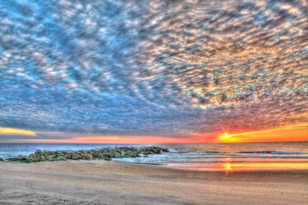 colorful sunrise at the beach new jersey photograph