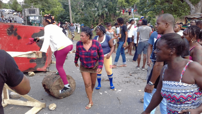 Human Roadblock in St Mary