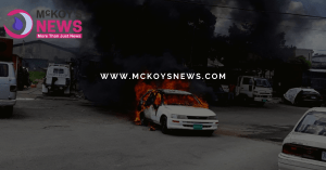 Car Bursts into Flames in Montego Bay