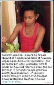 Shaniel Samuels 14 year old Student of Belmont Academy Missing
