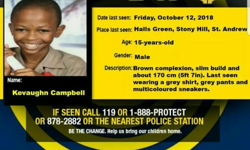 Kevaughn Campbell of Stony Hill, St Andrew Missing
