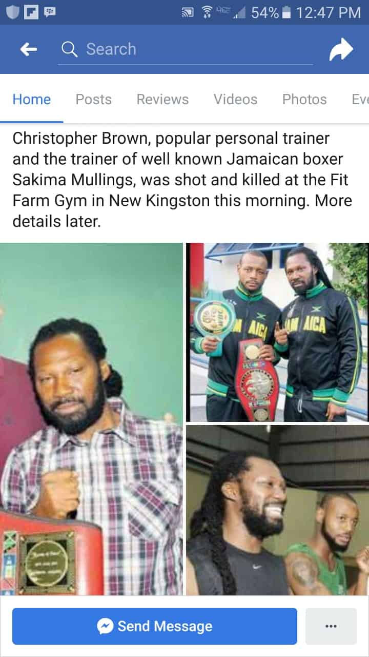 TRAINER CHRIS BROWN SHOT DEAD AT NEW KINGSTON GYM