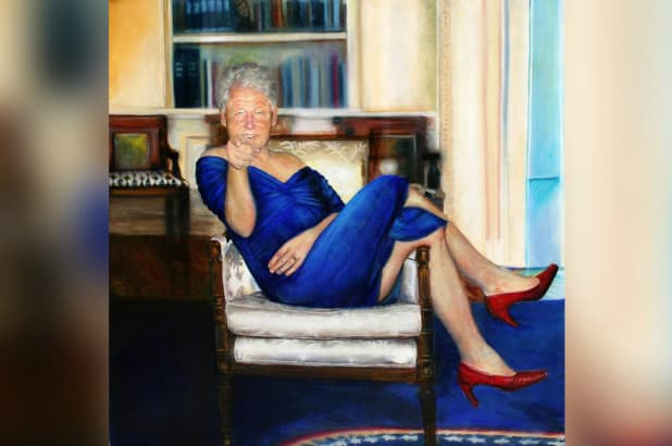 Epstein had bizarre painting of Bill Clinton in dress, heels in townhouse