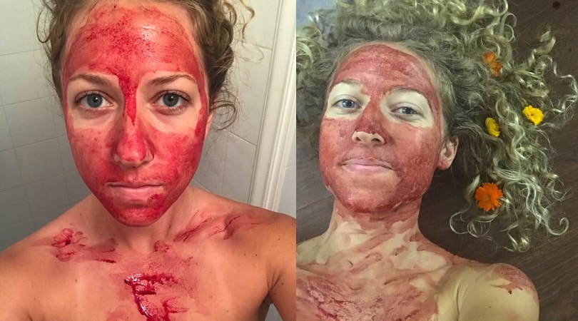 """Women Smears Menstrual Blood On Her Face To Show Periods Are """"Beautiful and Powerful"""""""