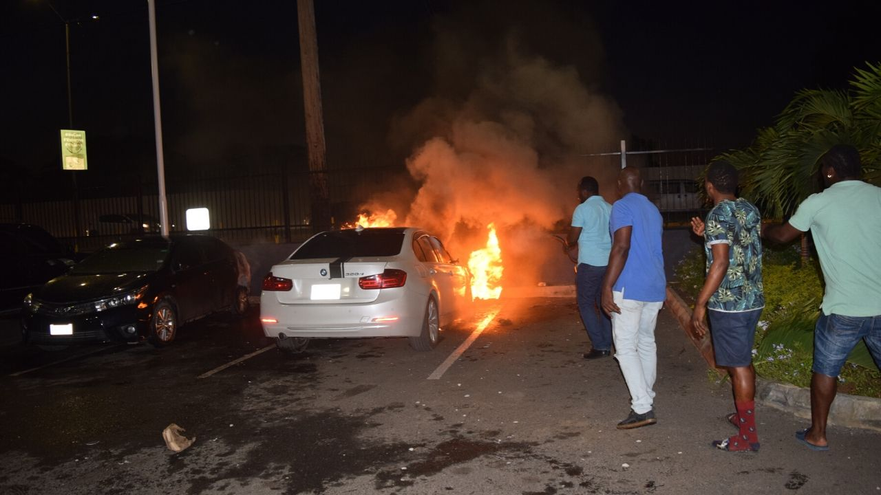 Three cars damaged by fire at the KFC parking lot