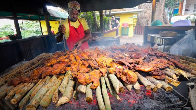 Insane Jamaican Jerk BBQ!! HUGE MEAT PIT + Jerk Champion in Montego Bay