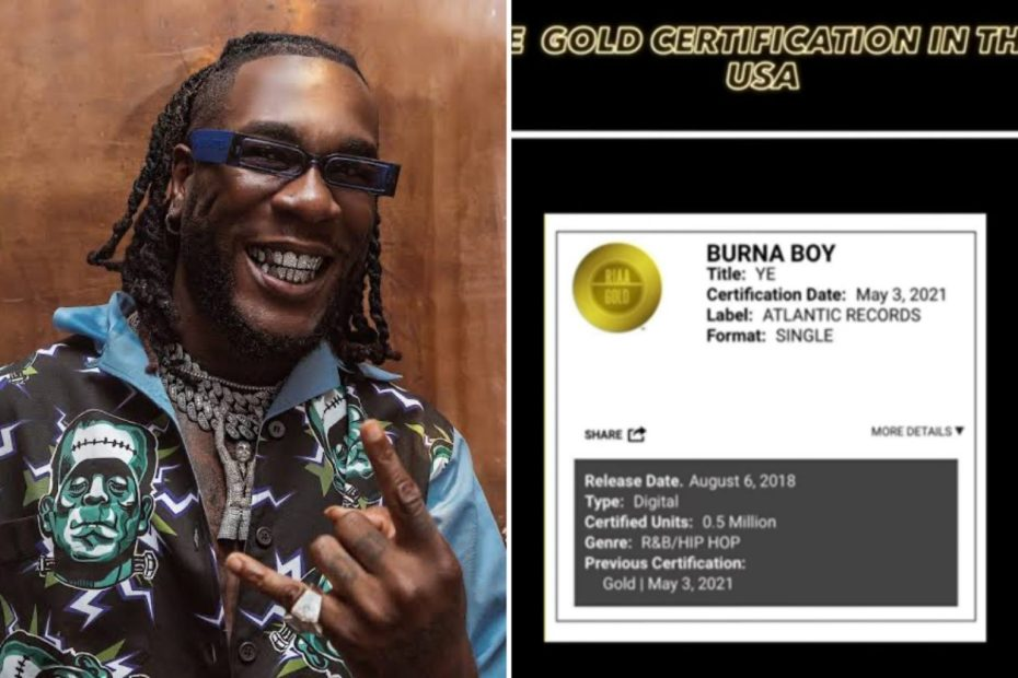 "Burna Boy's ""Ye"" Certified Gold in the U.S."
