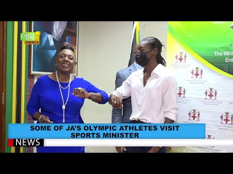 Some Of JA's Olympic Athletes Visit Sports Minister