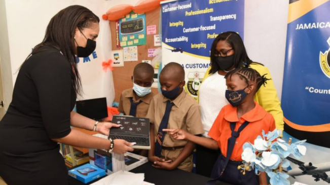 Jamaica Customs Donates 60 Tablets To Two Primary Schools