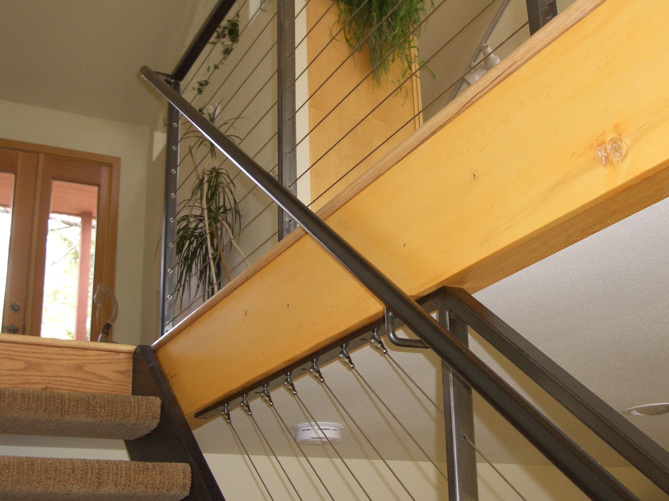Interior Cable Railing With Continuous Stair Hand Rail Mclean | Wood And Cable Stair Railing | Dark | Diy | Exterior Irregular Stair | Residential | Forgings