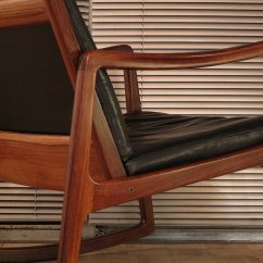 Black Eames Chair Swing Wooden Ole Wanscher Rosewood Rocking | Mcm Interiors