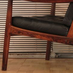 Desk Chair Leather Black Spindle Ole Wanscher Rosewood Lounge | Mcm Interiors