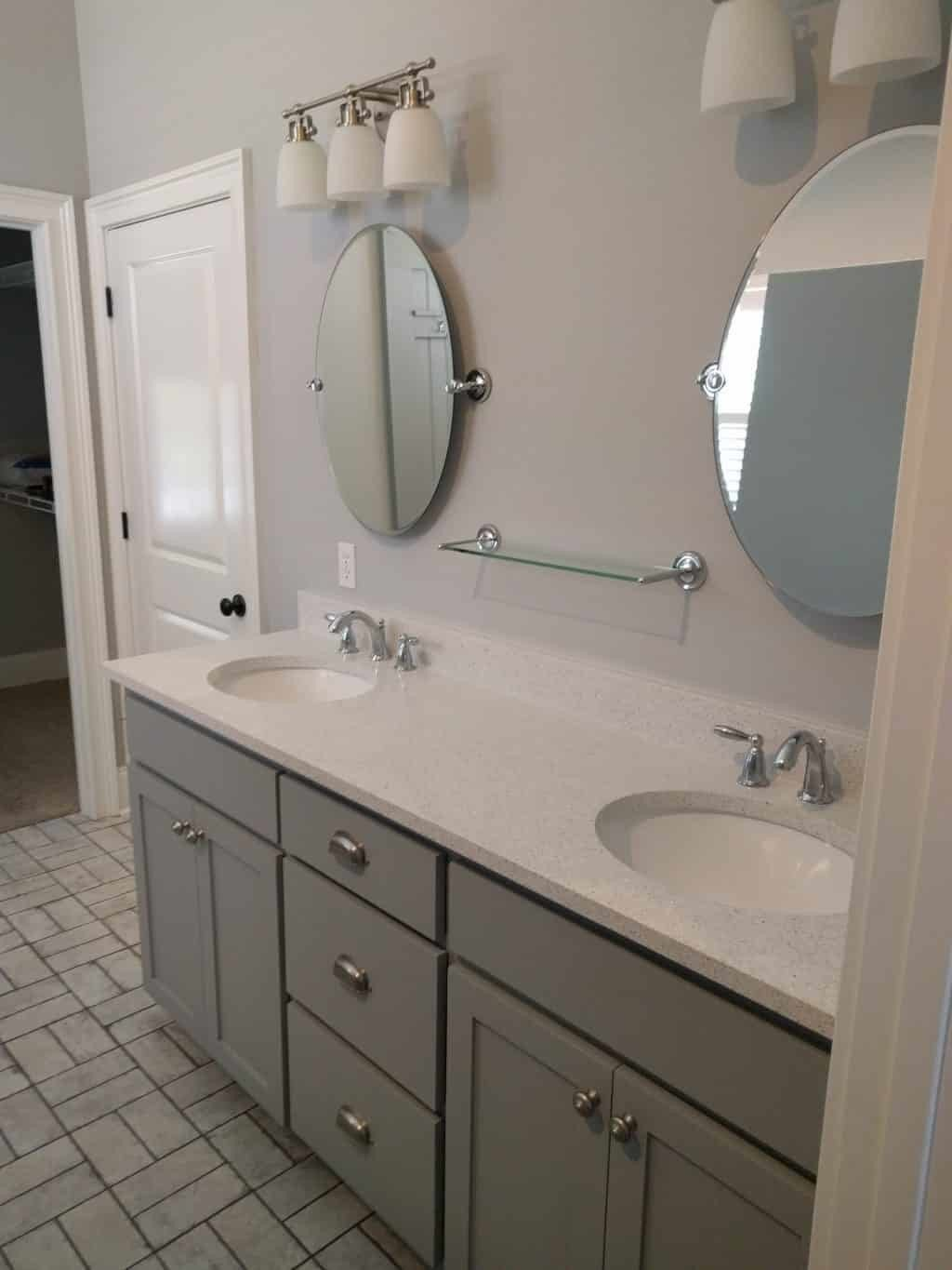 grey bathroom vanity white quartz counter top - Craftsman Bathroom 2016