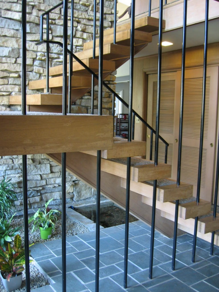 Staircase Mid Century Modern Home For Sale In Indianapolis Indiana   Mid Century Modern Stairs   Modern Craftsman   Design   Modern Middle House   Industrial Modern   Lighting