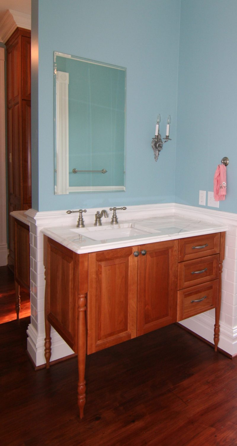 natural finish bath vanity