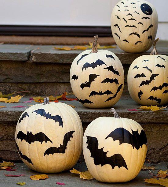 bat stencil on pumpkins