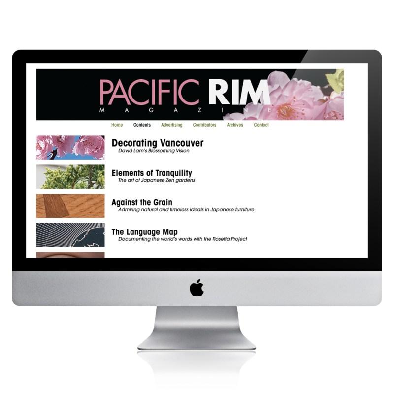 Pacific Rim Magazine's new website highlighting 2007 issue
