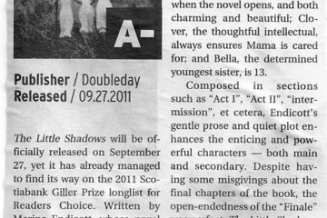 Book review for LITTLE SHADOWS in The Peak, SFU's Student Newspaper