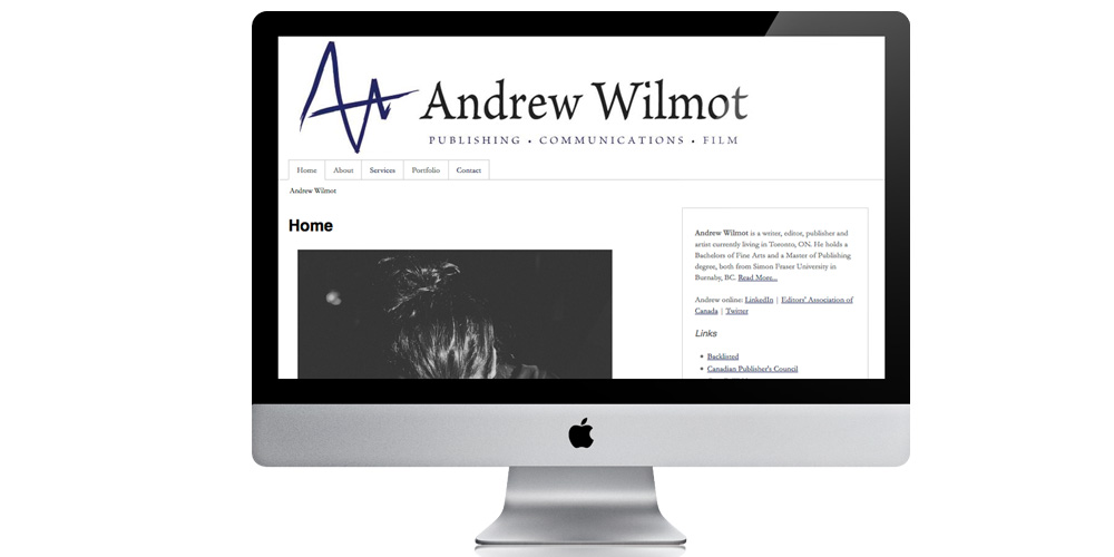Website design for Andrew Wilmot