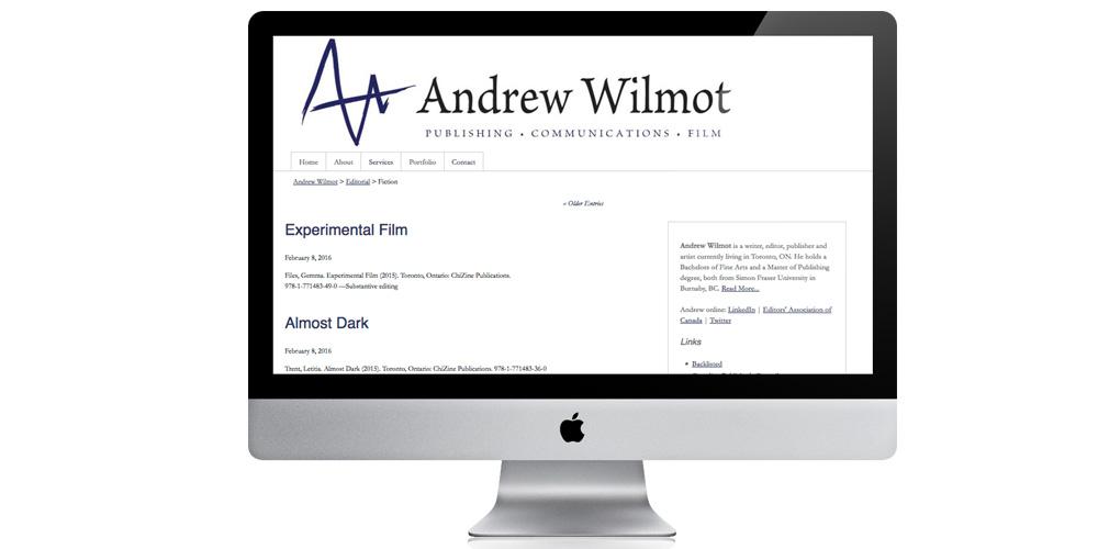 Portfolio website for Andrew Wilmot
