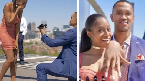 Man proposes to his girlfriend with 5 different diamond rings (Photos)