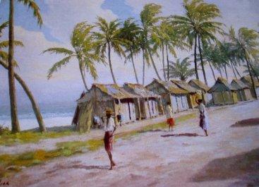 "Peintures et sculptures de Madagascar Jean Rambinintsoa ( 1899-1986 ) ""Mitsangantsangana eny-a-moron-dranomasina"""