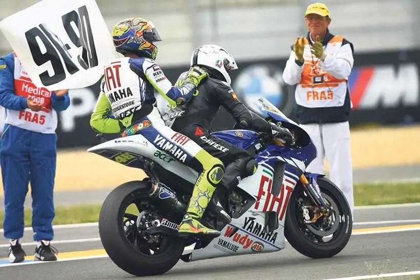 Rossi celebrates with Angel Nieto