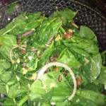 Spinach Salad with Roasted Garlic and Warm Bacon Dressing