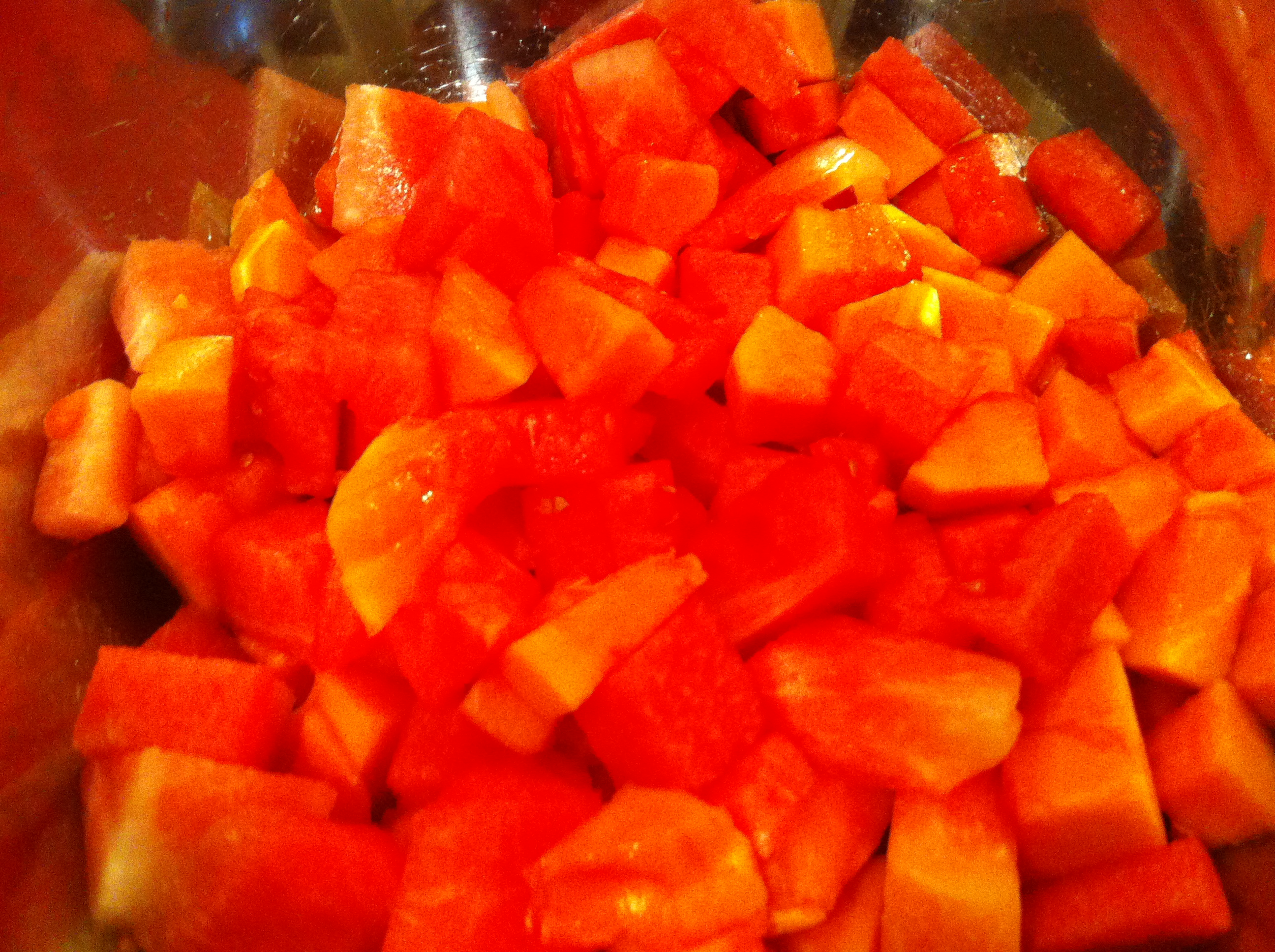 Watermelon salad with papaya and honey citrus vinaigrette