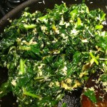 Sauteed kale with fresh coconut
