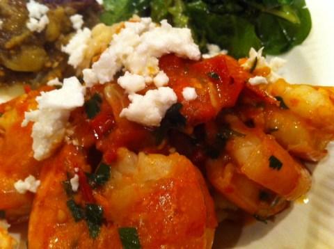 Sauteed Shrimp with tomato, ouzo, feta and parsley