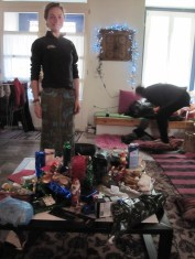 Our wonderful little home. Xmas morning with all the prezzies!
