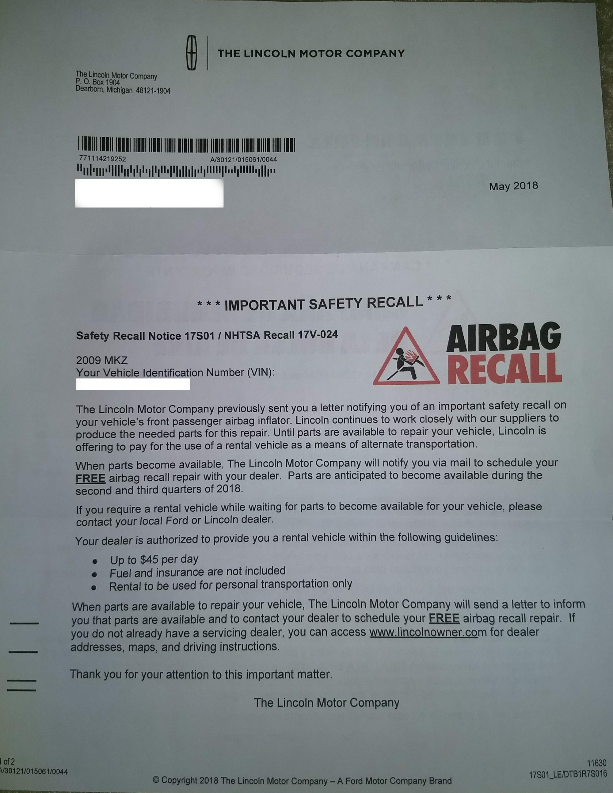 hight resolution of lincoln mkz recall rental
