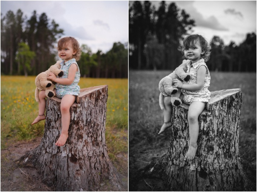 portrait of baby girl sitting on tree trunk | jacksonville children photographer