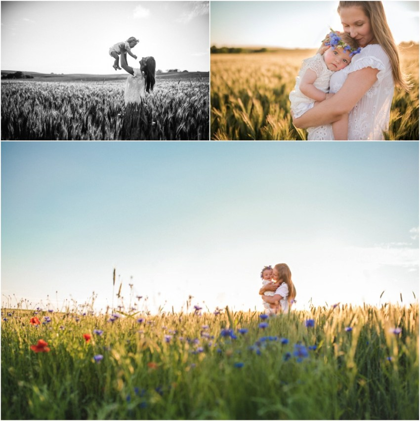 momma hugging her sweet daughter in the wheat field