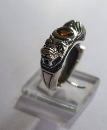 Beauty and the Beast Ring: Silver, brandy citrine